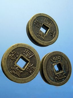 Coin, Chinese, Hole, Luck, Metal, Characters, Coins