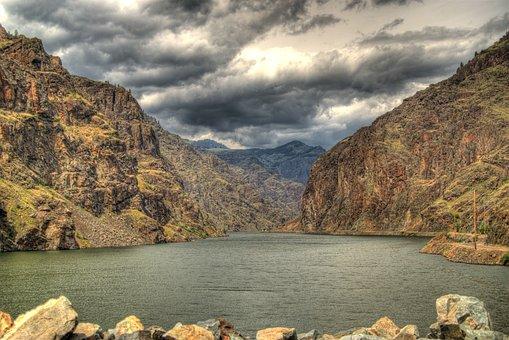 Hells Canyon, Oregon, Canyon, River, Clouds, Hdr, Hdf