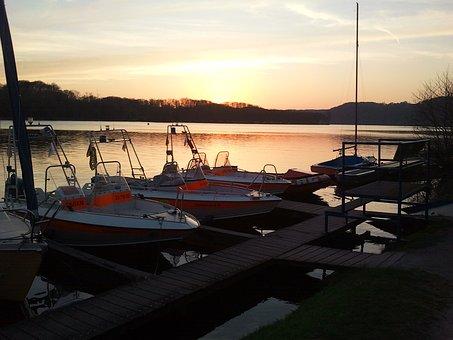 Sun, Lake, Sunset, Water, Sky, Sea, Evening, Landscape
