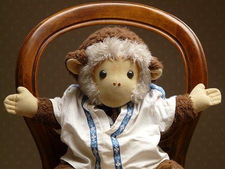 Monkey, Stuffed Animal, Toys, Doll, Fur, Chair, Hands