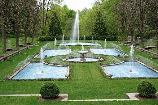 Garden, Fountains, Park, Pennsylvania, Trees, Lawn