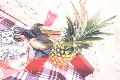 Picnic, Beach, Pineapple, Glasses, Shoes, Drink