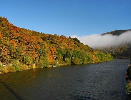 Saar, Saarland, River, Nature, Water, Autumn
