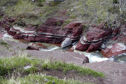 Red Cliffs, Creek, Water, Waterton Provincial Park