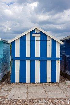 Beach House, Beach Hut, Hut, Wooden, Stripes, Blue