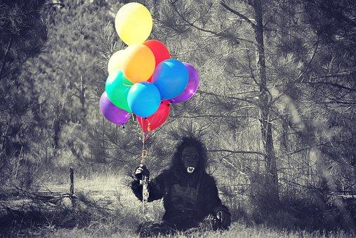 Gorilla, Costume, Balloons, Person, Halloween, Monkey