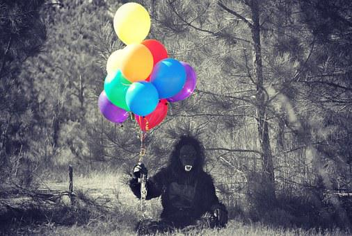 Gorilla, Costume, Balloons, Person, Halloween, Monkey