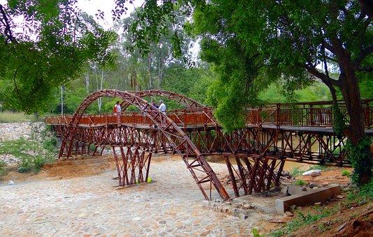 Bridge, Wooden, Cross-over, Pyramid Valley, Karnataka