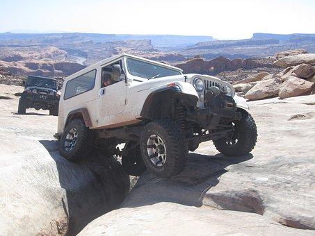 Jeep, Vehicle, Offroad, Dangerous, Rocks, Wheels