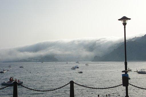 Almuñecar, Fog, Lake, Sea, Boats, Mountains, Pier
