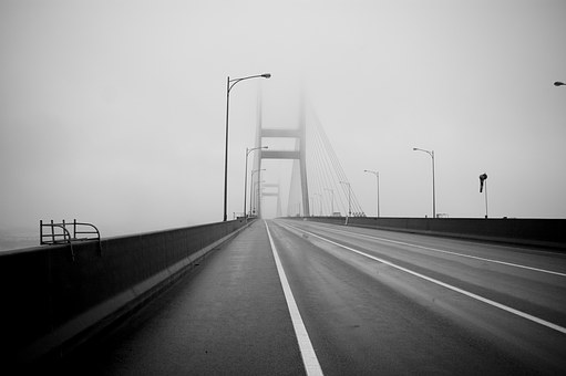 Yellow Sea Bridge, Bridge, Fog