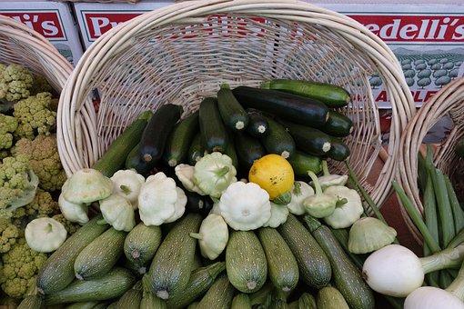 Basket, Harvest, Zucchini, Food, Vegitables