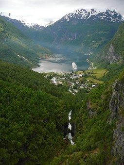 Geirangerfjord, Landscape, Geiranger, Norway, Fjord