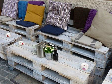 Cafe, Rustic, Outdoor, Furniture, Table, Bank, Patio