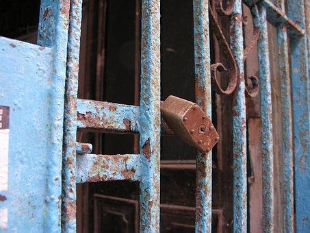 Lock, Gate, Blue, Rusty
