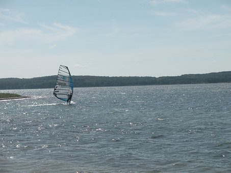Knudshoved, Bay, Sunshine, Wind Surfing, Sea, Blue Sky