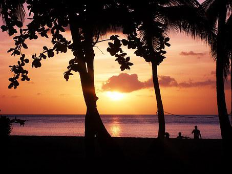 Sunset, Beach, Guadeloupe, Sea, Evening, Coral