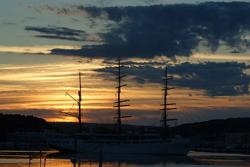 Sunset, Port, Mahón, Silhouette, Submit, Mast, Dawn
