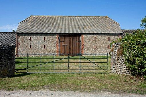 Farm, Building, Barn, Large, Stone, Gate, Farmland
