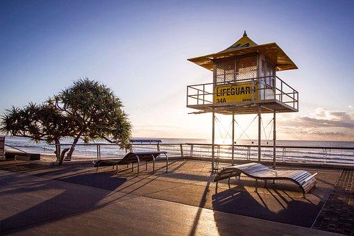 Dawn, Dusk, Lifeguard Tower, Ocean, Sea, Sky, Sunrise