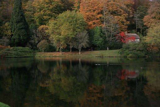 Autumn, Stour-head, Lake, Autumnal, Water, Landscape