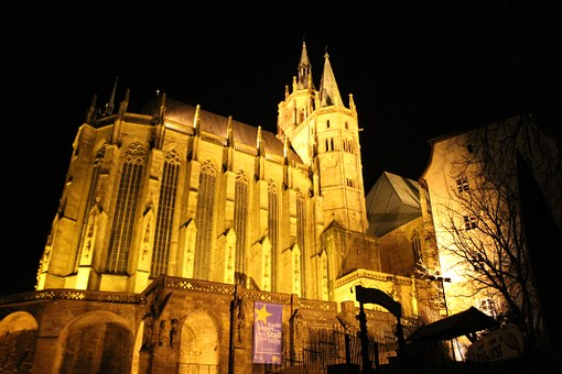Erfurt, Dom, Illuminated, Night, Architecture, Religion