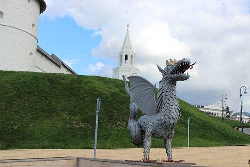 Dragon, Metro, Grass, Architecture, The Kremlin, Kazan