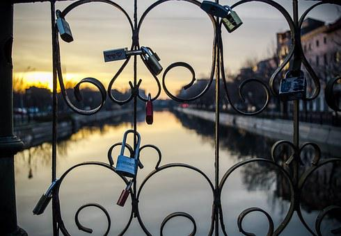 Locks, Bridge, Sunset, Reflection, Water