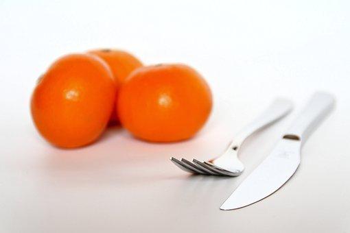Fork, Knife, Cutlery, Metal, Tableware, Close, Orange