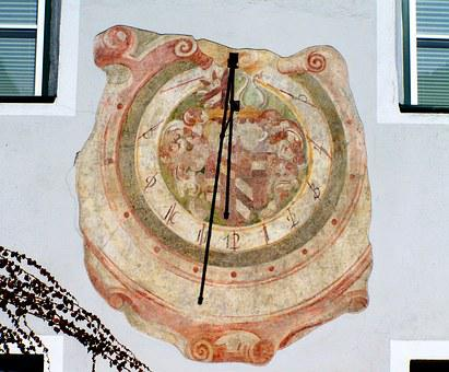 Old Sundial, Old Timer, Painted Wall