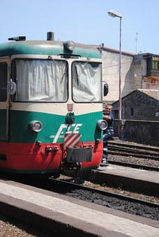 Old Train Italy, Randazzo Station, Mount Etna