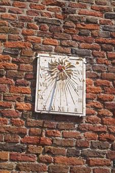 Sundial, Old Wall, Red Stones, Sun, Monument