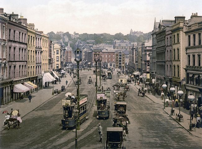 Tram, City, Patrick Street, Cork, Ireland, Photochrom