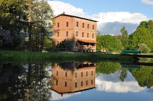 Building, Brick, Pond, Tree, Reflection, Poland