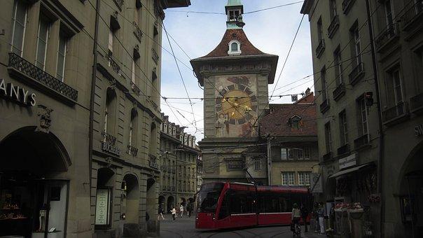 Oldtown, Bern, Switzerland, Historical, Zytglogge, Tram