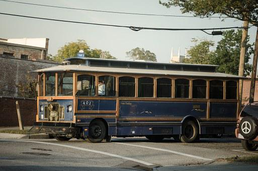 Bus, Old, Vehicle, Oldtimer, Usa, Wilmington, Trolley