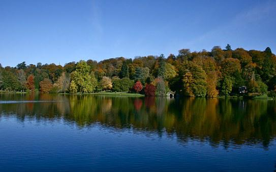 Stour-head, Autumn, Blue, Reflections, Nature, Water
