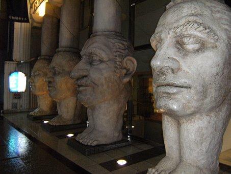 Sculpture, Faces, Different, Grand, Weird, Statue