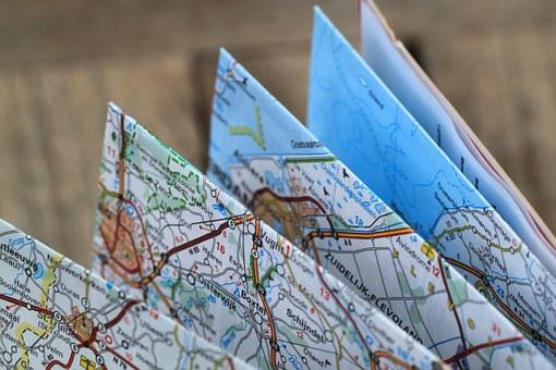 Folding Map, Road Map, Travel Route, Auto Map, Atlas