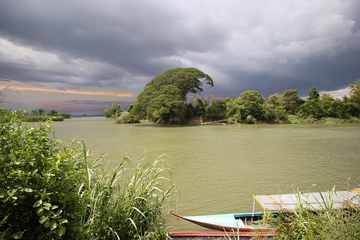 Clouds, Mekong, Don Det, Boat, Tree, Light