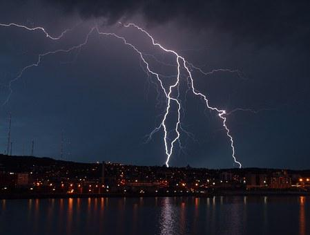 Storm, Lightning, Clouds, Light, City, Night