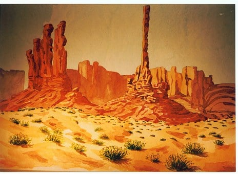 Swathi Monument, Desert, Usa, Landscape, Watercolour
