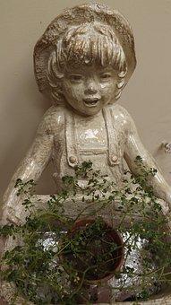 Statue, Figure, Sculpture, Face, Child, Girl, Field