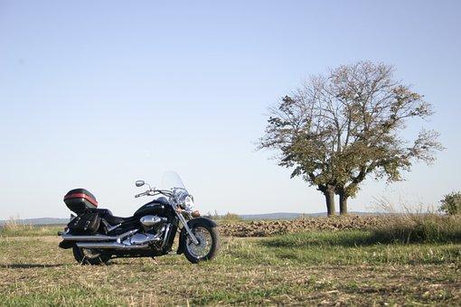 Motorcycle, Suzuki, Intruder, Black, Parked, Field, New