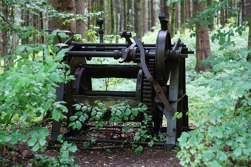 Forest, Machine, Old, Trees, Absurd, Green, Metal, Gear