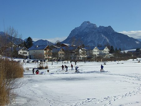 Ice, Skating, Hop On The Lake, Lake, Mountain Panorama