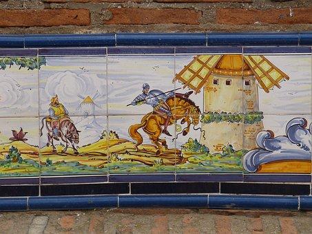 Tile, Ceramic, La Mancha, Image, Azuleijo, Spain