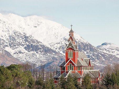 Church, Buksnes, Norway, Lofoten, Mountain