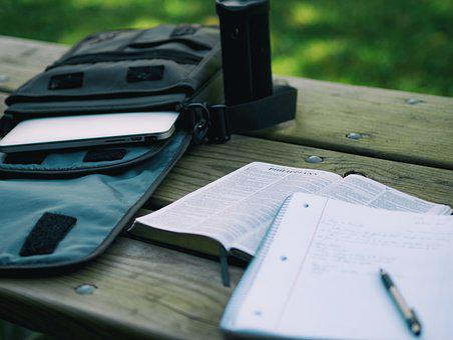 Bag, Bible, Computer, Laptop, Notes, Paper, Pen