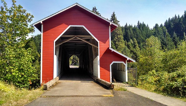 Covered Bridge, Red, Rural, Outdoor, Oregon, Bridge
